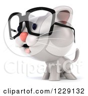 Clipart Of A 3d Bespectacled White Kitten Facing Left Royalty Free Illustration