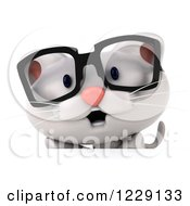 Clipart Of A 3d Bespectacled White Kitten Over A Sign Royalty Free Illustration