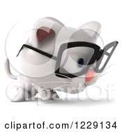 Clipart Of A 3d Bespectacled White Kitten Walking Royalty Free Illustration