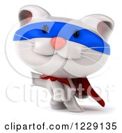 Clipart Of A 3d White Super Kitten Presenting Royalty Free Illustration
