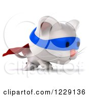 Clipart Of A 3d White Super Kitten Walking 3 Royalty Free Illustration