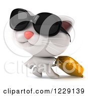 Clipart Of A 3d Traveling White Kitten With Sunglasses And Luggage Royalty Free Illustration
