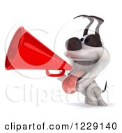 Clipart Of A 3d Happy Jack Russell Terrier Dog Using A Megaphone Royalty Free Illustration