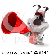 Clipart Of A 3d Happy Jack Russell Terrier Dog Wearing A Hat And Using A Megaphone Royalty Free Illustration