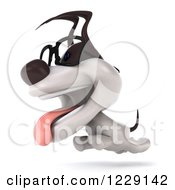 Clipart Of A 3d Bespectacled Jack Russell Terrier Dog Running Royalty Free Illustration
