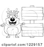Clipart Of A Black And White Chubby Caribou Reindeer With Wooden Signs Royalty Free Vector Illustration