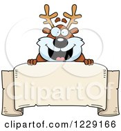 Clipart Of A Happy Chubby Caribou Reindeer Over A Banner Royalty Free Vector Illustration