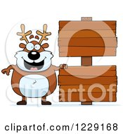 Clipart Of A Chubby Caribou Reindeer With Wooden Signs Royalty Free Vector Illustration by Cory Thoman