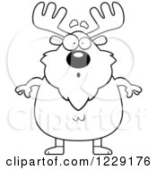 Clipart Of A Black And White Surprised Chubby Moose Royalty Free Vector Illustration by Cory Thoman