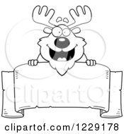 Clipart Of A Black And White Happy Chubby Moose Over A Banner Sign Royalty Free Vector Illustration by Cory Thoman