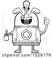 Clipart Of A Black And White Smart Dog Robot With An Idea Lightbulb And Screwdriver Royalty Free Vector Illustration