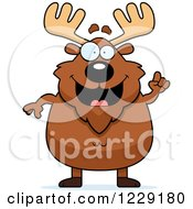 Clipart Of A Chubby Moose With An Idea Royalty Free Vector Illustration by Cory Thoman