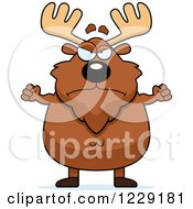 Clipart Of A Mad Chubby Moose With Fisted Hands Royalty Free Vector Illustration by Cory Thoman