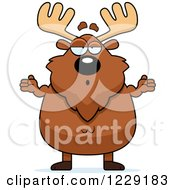 Clipart Of A Careless Shrugging Chubby Moose Royalty Free Vector Illustration by Cory Thoman