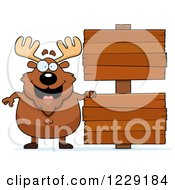 Clipart Of A Chubby Moose With Wooden Signs Royalty Free Vector Illustration by Cory Thoman