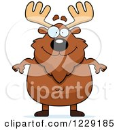 Clipart Of A Happy Chubby Moose Royalty Free Vector Illustration