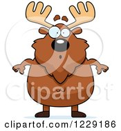 Clipart Of A Surprised Chubby Moose Royalty Free Vector Illustration by Cory Thoman