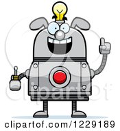 Clipart Of A Smart Dog Robot With An Idea Lightbulb And Screwdriver Royalty Free Vector Illustration by Cory Thoman