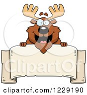 Clipart Of A Happy Chubby Moose Over A Banner Sign Royalty Free Vector Illustration by Cory Thoman