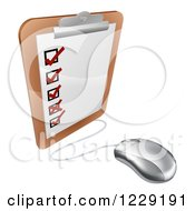 3d Computer Mouse Connected To A Survey Clipboard