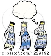 Clipart Of Thinking Three Kings Royalty Free Vector Illustration by lineartestpilot