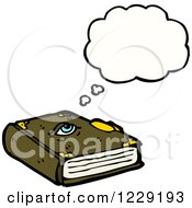 Clipart Of A Thinking Magic Book Royalty Free Vector Illustration