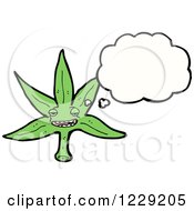 Clipart Of A Thinking Pot Leaf Royalty Free Vector Illustration by lineartestpilot