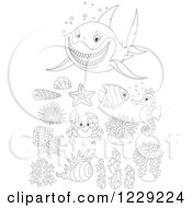 Clipart Of An Outlined Shark And Sea Creatures Royalty Free Vector Illustration by Alex Bannykh