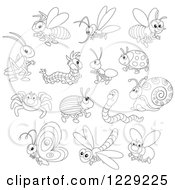 Clipart Of Outlined Happy Insects Royalty Free Vector Illustration