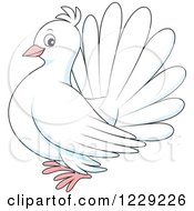 Clipart Of A White Dove Royalty Free Vector Illustration by Alex Bannykh