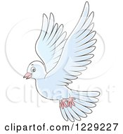 Clipart Of A Flying White Dove Royalty Free Vector Illustration