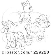 Clipart Of An Outlined Cute Baby Goat Lamb And Cow Royalty Free Vector Illustration by Alex Bannykh