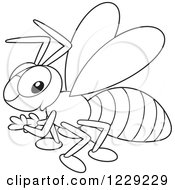 Clipart Of An Outlined Happy Wasp Royalty Free Vector Illustration