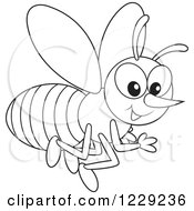 Clipart Of An Outlined Happy Bee Royalty Free Vector Illustration