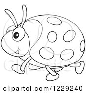 Clipart Of An Outlined Happy Ladybug Royalty Free Vector Illustration by Alex Bannykh