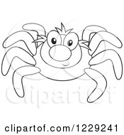 Clipart Of An Outlined Happy Spider Royalty Free Vector Illustration by Alex Bannykh