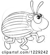 Clipart Of An Outlined Happy Beetle Royalty Free Vector Illustration by Alex Bannykh
