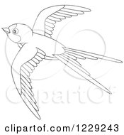 Clipart Of An Outlined Cute Martin Bird Flying Royalty Free Vector Illustration by Alex Bannykh