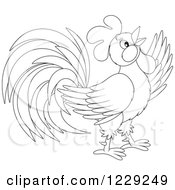 Clipart Of An Outlined Cute Rooster Royalty Free Vector Illustration by Alex Bannykh