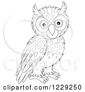 Clipart Of An Outlined Cute Owl With Spots Royalty Free Vector Illustration by Alex Bannykh