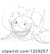 Clipart Of An Outlined Grinning Shark Royalty Free Vector Illustration
