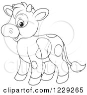 Clipart Of An Outlined Cute Cow Royalty Free Vector Illustration