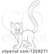 Clipart Of An Outlined Cute Lemur Royalty Free Vector Illustration by Alex Bannykh