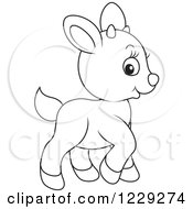 Clipart Of An Outlined Cute Goat Royalty Free Vector Illustration by Alex Bannykh