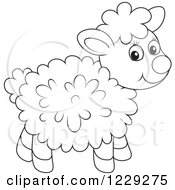 Clipart Of An Outlined Cute Lamb Royalty Free Vector Illustration