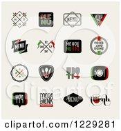 Clipart Of Vintage Menu And Restaurant Designs Over Beige Royalty Free Vector Illustration
