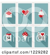 Clipart Of A Valentine Envelope Cupids Arrow Heart Cupcake Calendar Flowers And Love Royalty Free Vector Illustration by elena