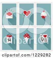 Poster, Art Print Of Valentine Envelope Cupids Arrow Heart Cupcake Calendar Flowers And Love