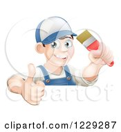 Clipart Of A Happy Male Painter Holding A Thumb Up And A Brush Over A Sign Royalty Free Vector Illustration
