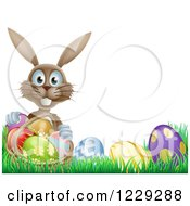 Clipart Of A Brown Bunny Holding Basket By Easter Eggs Royalty Free Vector Illustration